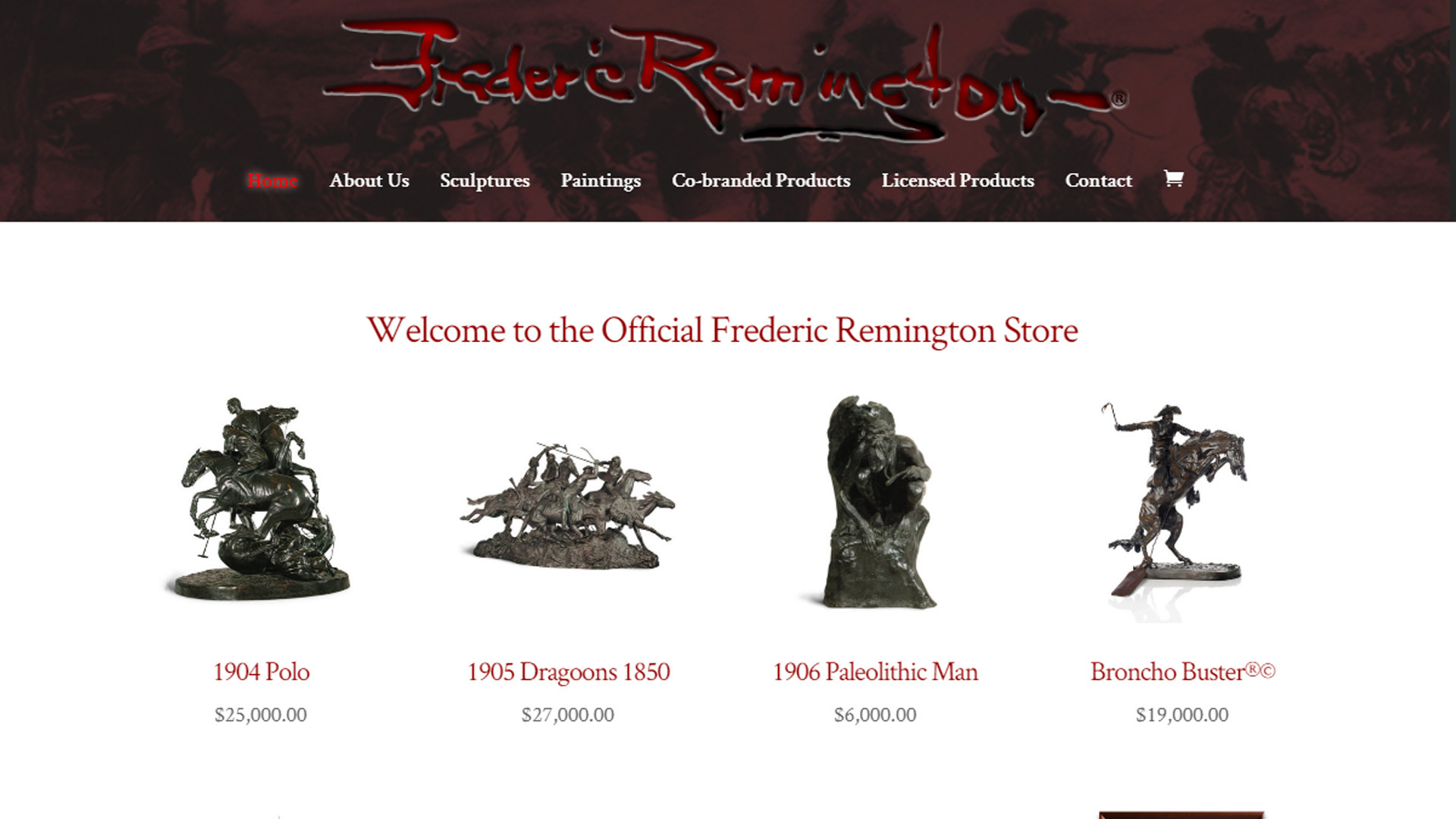 fredericremingtonstore.com by luke bullock screenshot